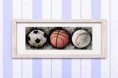 Basketball, baseball and soccer Stock Image