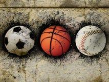 Basketball, Baseball und Fußball Lizenzfreies Stockfoto