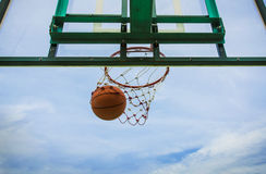 Basketball basket. With all going through net Stock Image