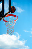 Basketball basket with ball Royalty Free Stock Photo