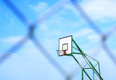 Basketball basket and blur metal mesh Stock Images
