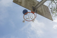Basketball Basket. Basketball goal with a blue sky background Stock Photos