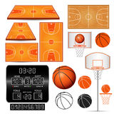 Basketball basket, hoop, ball, scoreboard with numbers, fields  on white background Stock Photos