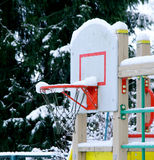 Basketball basket under snow Stock Photography