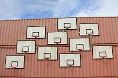 Basketball basket on wall Stock Images