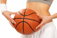 Basketball in beautiful woman player hands Stock Images