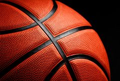 Basketball on black background. Bright Basketball on black background Stock Photography