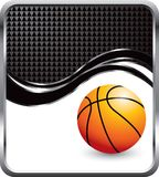 Basketball on black checkered wave background Stock Photography