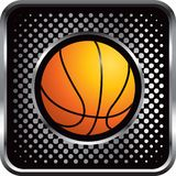 Basketball on black halftone web button Stock Images