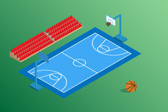 Basketball blue field and outdoor stadium. Seat Stock Photo