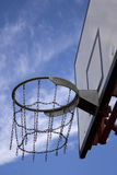 Basketball board. In schoolyard with chain basket Royalty Free Stock Photos