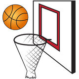 Basketball board with a basket and a ball Royalty Free Stock Photos