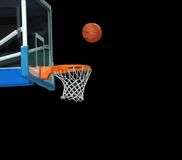 Basketball board and basketball ball. On a black background Royalty Free Stock Photo