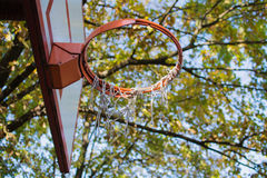Basketball board and hoop in the park. Orange-white color royalty free stock photography