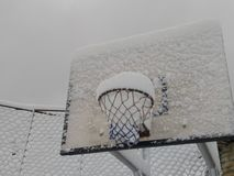 Basketball board with snow in tikot village royalty free stock photography