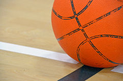 Basketball on boundary line Stock Image
