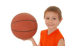 Basketball Boy 17. Young boy playing with a basketball isolated on white Stock Photo