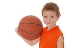 Basketball Boy 20. Young boy playing with a basketball isolated on white Royalty Free Stock Photo