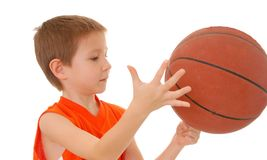 Basketball Boy 21. Young boy playing with a basketball isolated on white Stock Photo