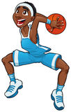 Basketball boy. Funny cartoon and vector isolated character Royalty Free Stock Photography