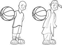 Basketball Boy. Teenage street and court basketball player illustration set Royalty Free Stock Image