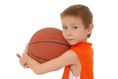 Basketball Boy 5. Young boy playing with a basketball isolated on white Royalty Free Stock Photography