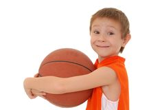 Basketball Boy 6. Young boy playing with a basketball isolated on white Stock Photo