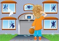 Basketball boy and broken windows. Oops (vector, CMYK royalty free illustration