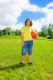 Basketball boy outside Stock Photography