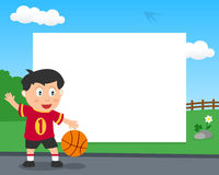 Basketball Boy in the Park Horizontal Frame Royalty Free Stock Photos
