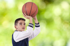 Basketball. Boy playing basketball, sports life Stock Photography