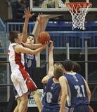 Basketball boys shot block attempt Stock Photos