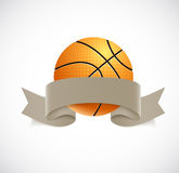 Basketball with brown ribbon Royalty Free Stock Photos