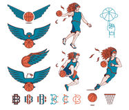 Basketball bundle colored Stock Image