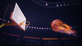 Basketball burning ball aiming to score. Sport topic arena interior illustration Royalty Free Stock Image