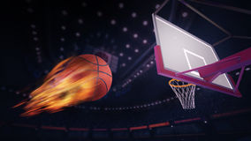 Basketball burning ball heading for goal. Sport topic arena interior illustration Royalty Free Stock Photos