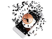 Basketball burst out of the smartphone Stock Images