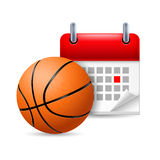 Basketball and calendar Stock Photos