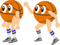Basketball Cartoon. Mr. Basketball man in two poses a sporty vector illustration Royalty Free Stock Image