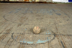 Basketball at center court Royalty Free Stock Photography