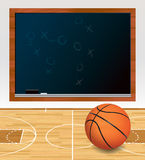 Basketball Chalkboard on Court Illustration Royalty Free Stock Images