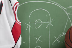 Basketball in chalkboard with play Stock Photography