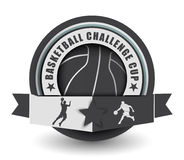 Basketball challenge cup emblem Royalty Free Stock Images