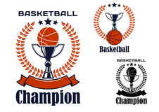 Basketball champion emblems with items Stock Image