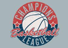 Basketball Champions league distressed print.  Stock Photo