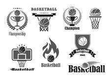 Basketball championship award vector icons set Royalty Free Stock Photos