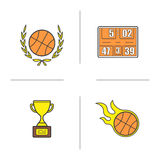Basketball championship color icons set. Basketball ball in laurel wreath, scoreboard, flying burning ball, winners gold award.  vector illustrations Royalty Free Stock Image