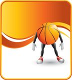 Basketball character. Basketball cartoon character with orange wave background Royalty Free Stock Photo