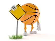 Basketball character with blank road sign Royalty Free Stock Photos