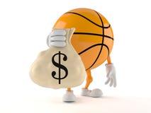 Basketball character holding money bag Stock Photography